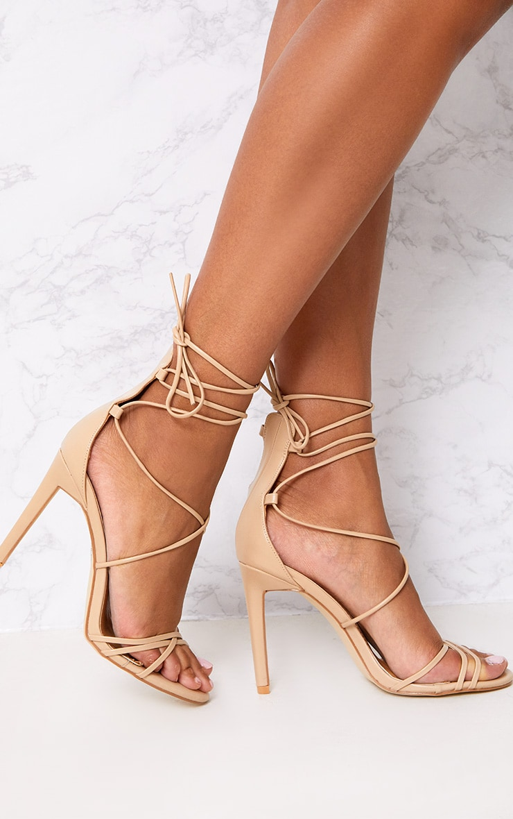 Elaine Nude Lace Up Strappy Heels