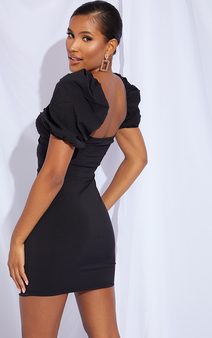 Black Puff Sleeve Knot Bust Detail Bodycon Dress 2