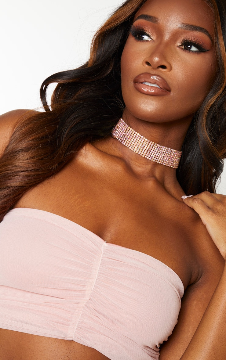 Light Pink Mesh Front Ruched Bandeau Top 5