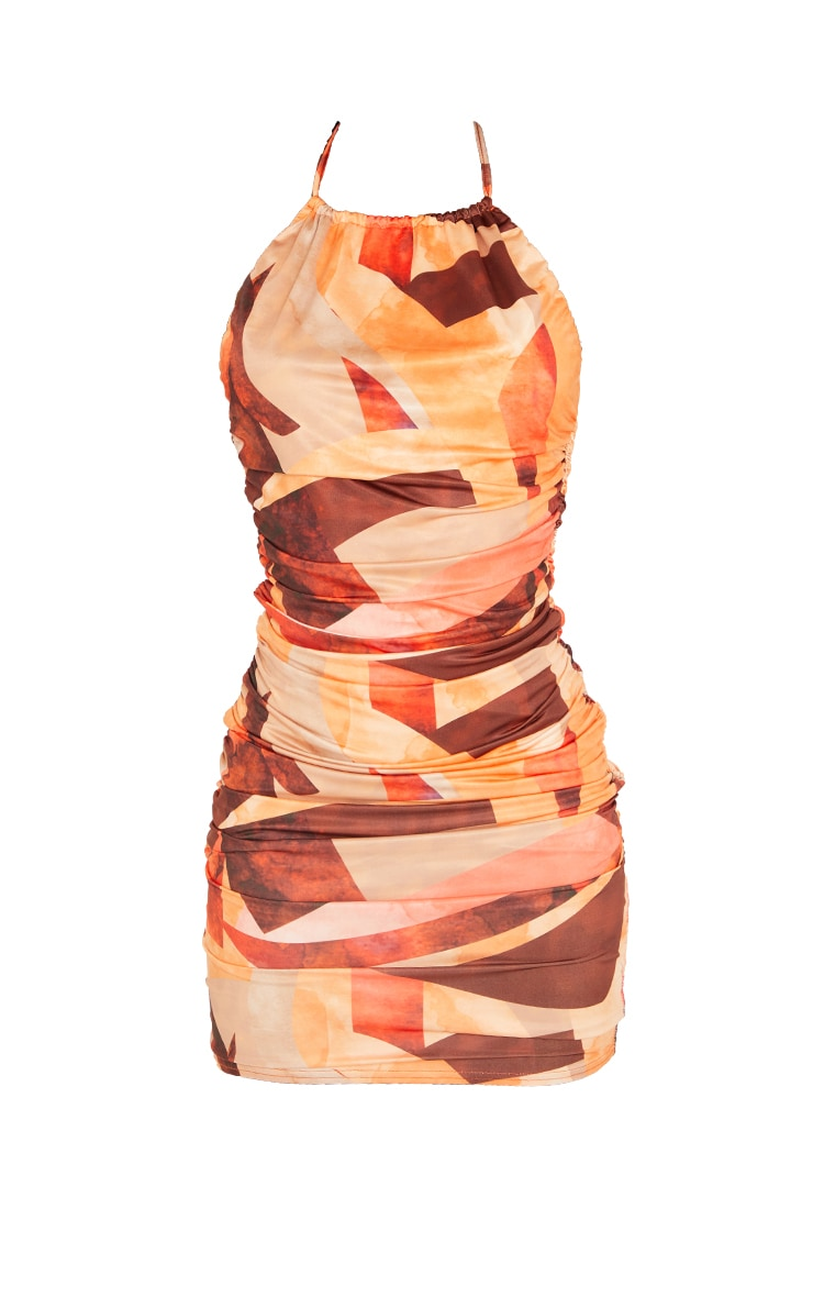 Tall Orange Abstract Print Ruched Detail Bodycon Dress 5