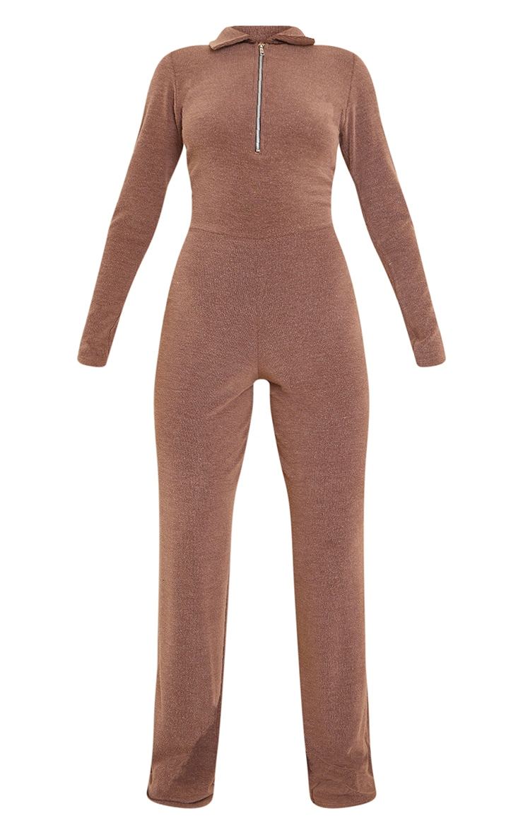 Chocolate Rib Collar Detail Zip Jumpsuit 5