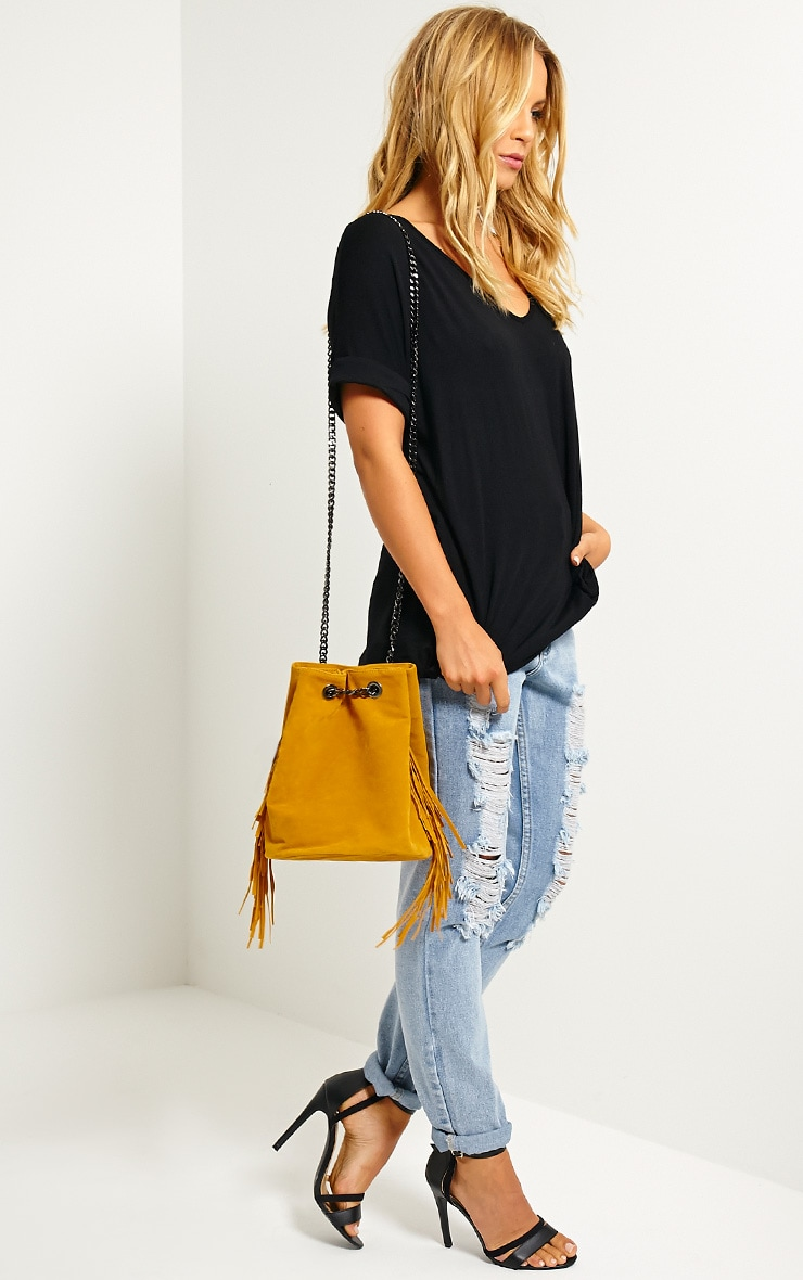Letty Mustard Suede Fringe Bucket Bag 3