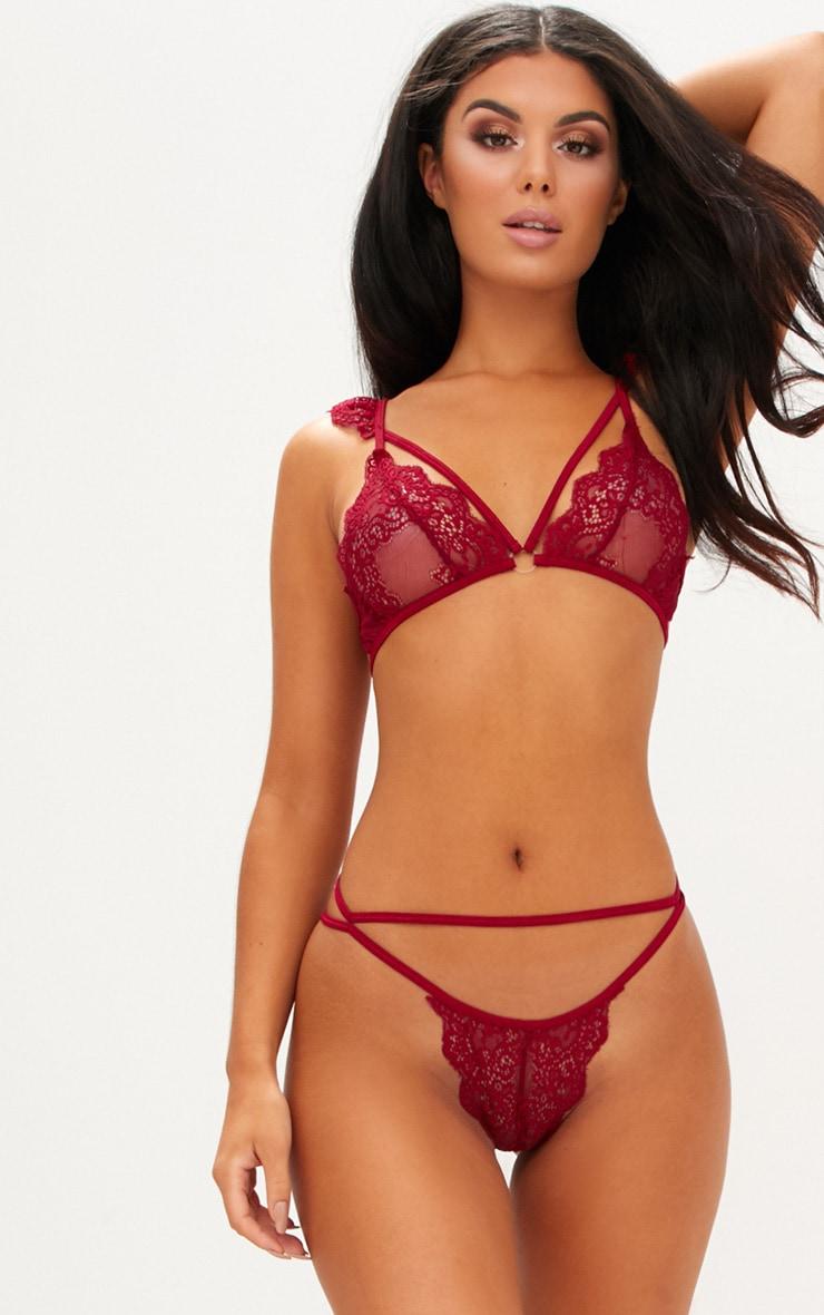 Burgundy Lace Shoulder Detail Set 1