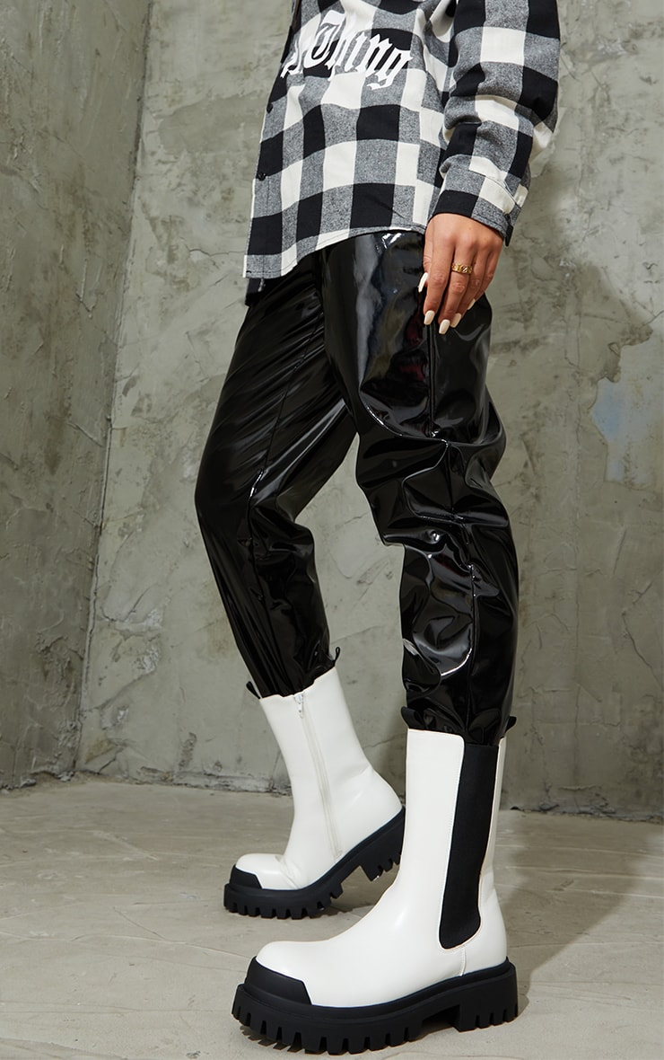 White Rubber Toe Calf High Chelsea Boots 2