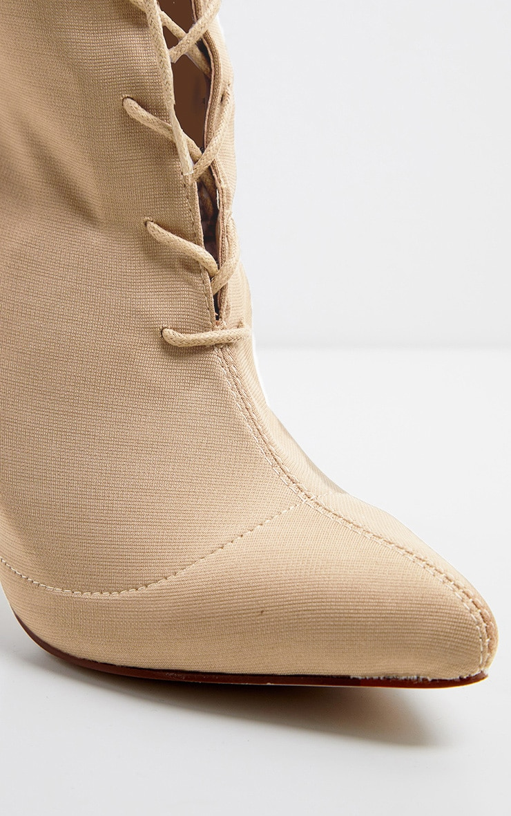 Nude Mid Heel Lace Up Ankle Boot  4