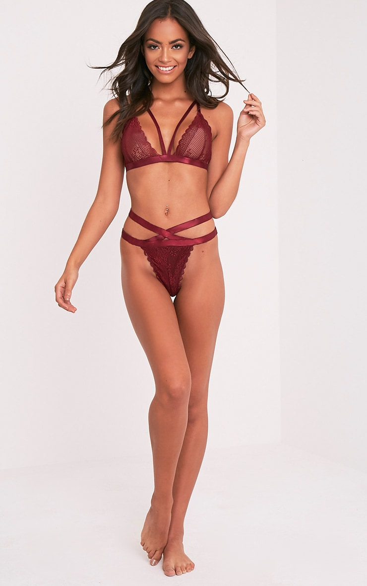 Gerrie Burgundy Lace Harness Thong Knicker 6