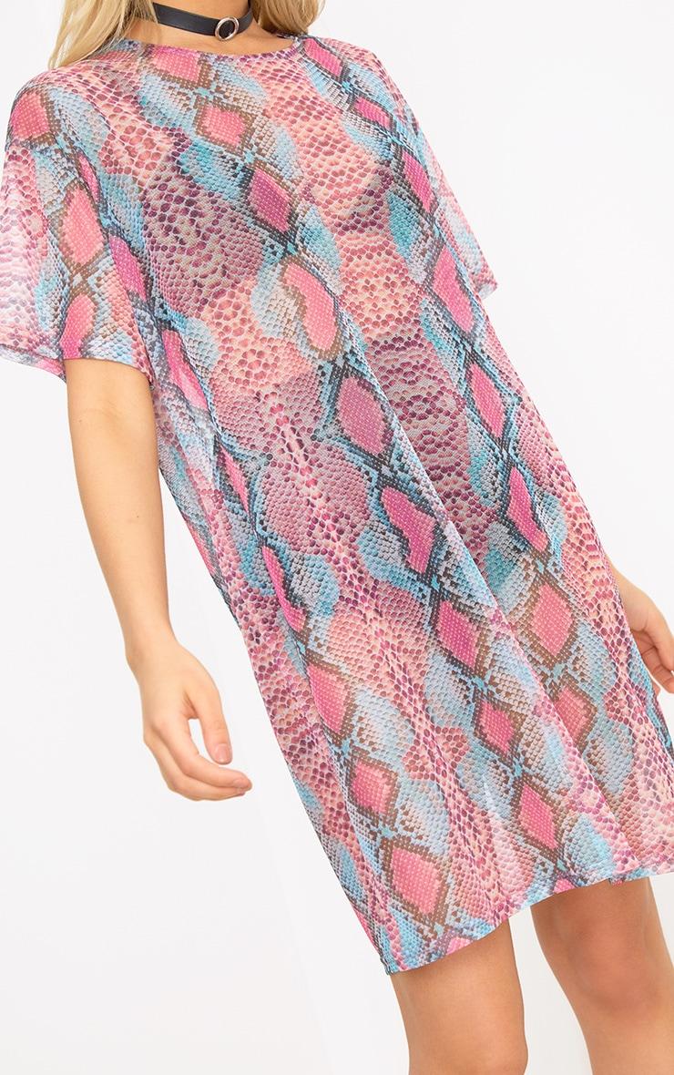Pink Mesh Snake T Shirt Dress 5