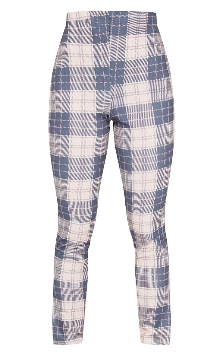 Petite Nude Checked Split Hem Pants 5