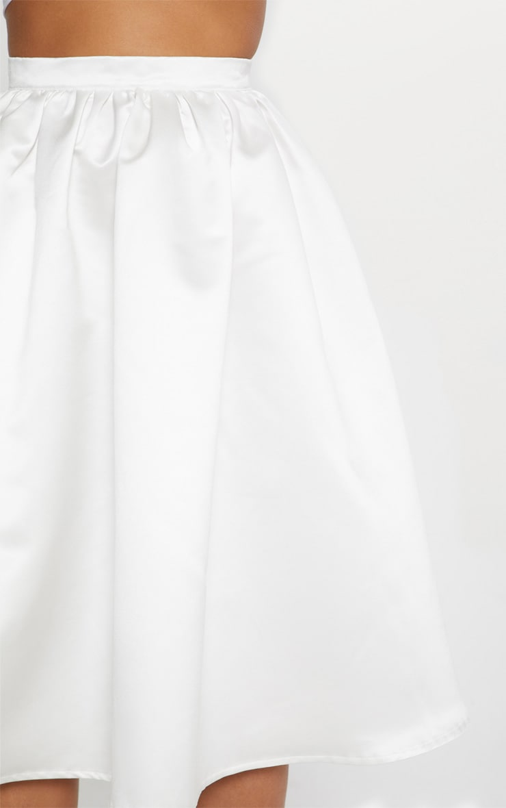 White Satin Full Midi Skirt  4