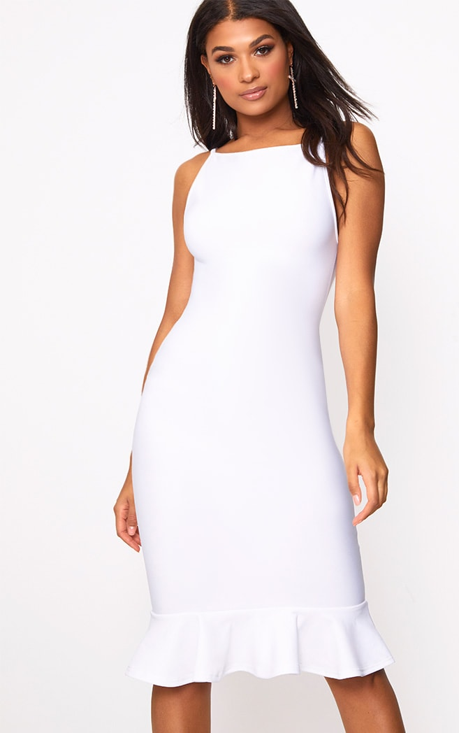 Freada White Square Neck Frill Hem Midi Dress 4