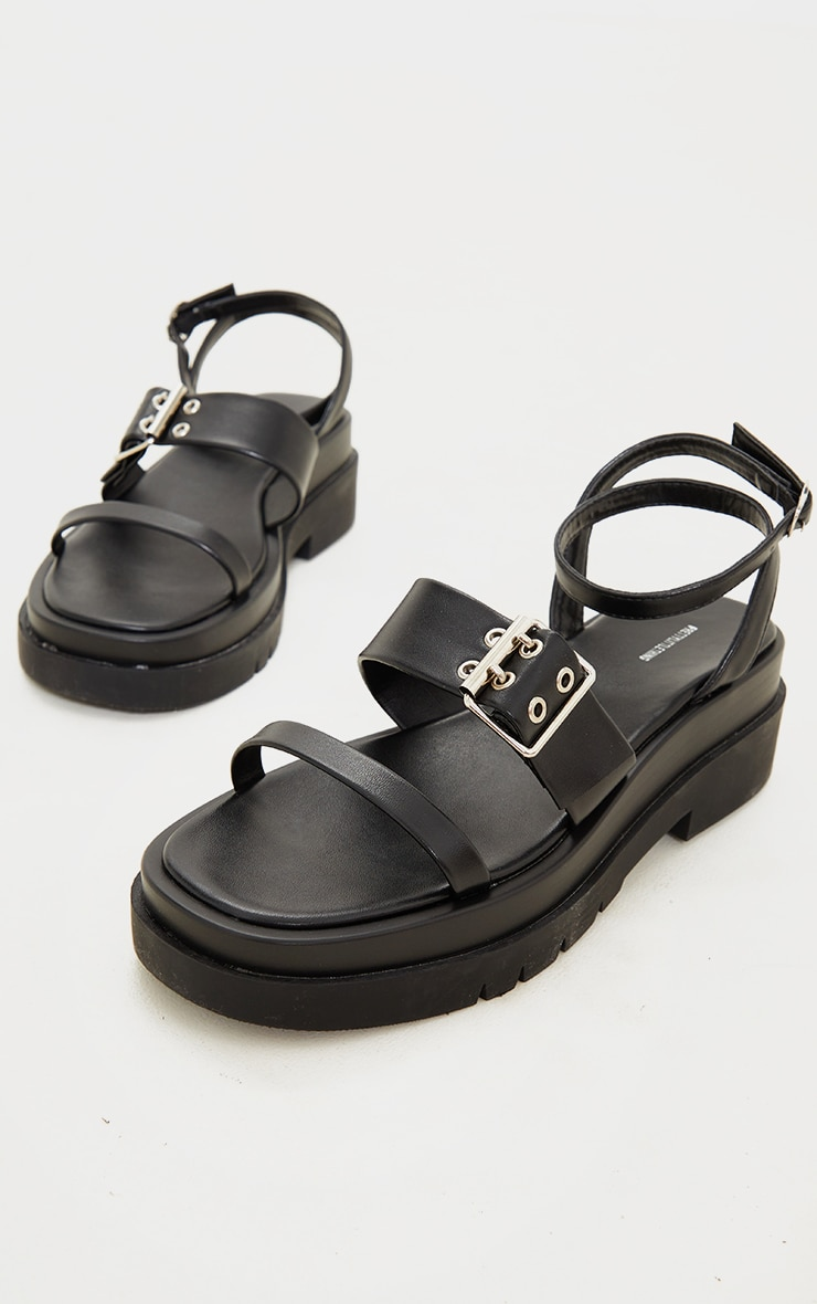 Black PU Buckle Detail Strappy Chunky Sole Sandals 3