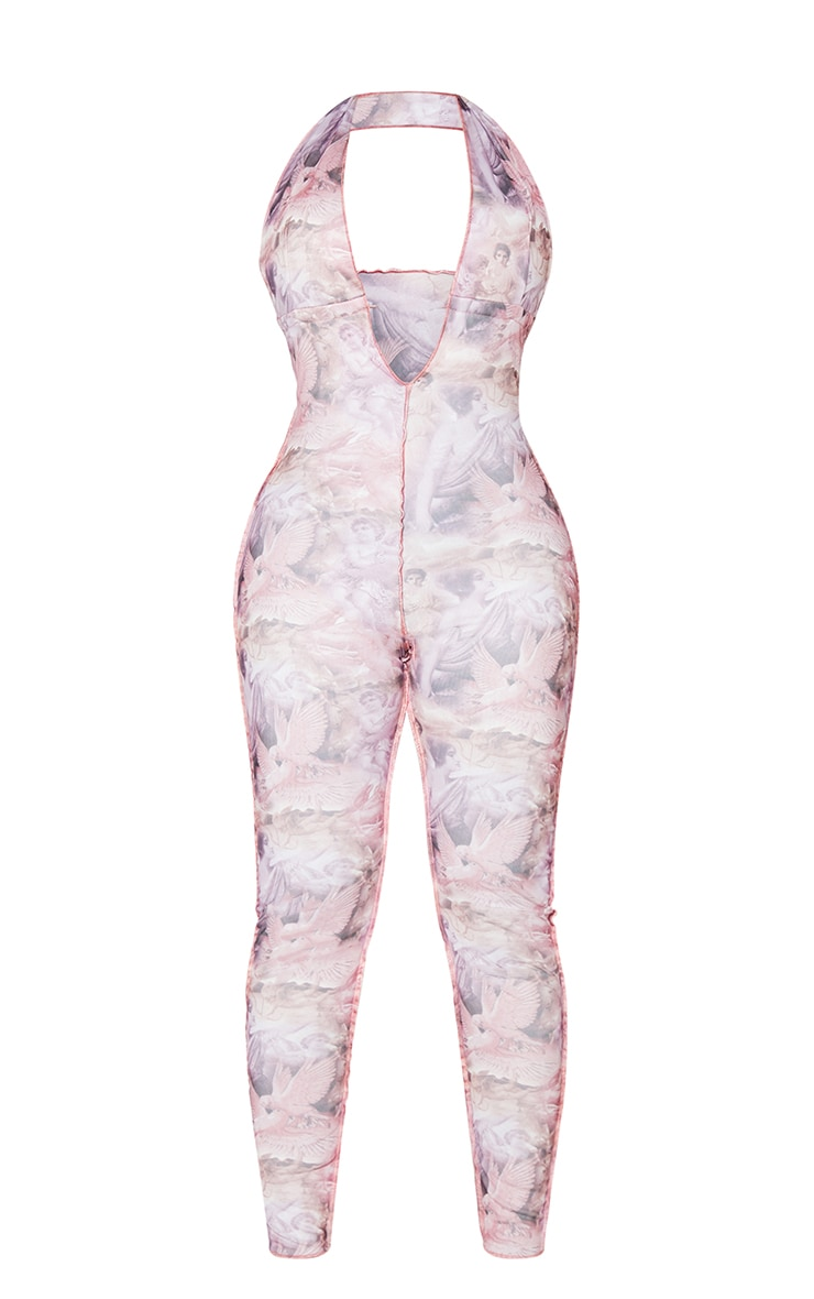 Shape Pink Renaissance Print Mesh Tie Detail Plunge Jumpsuit 5