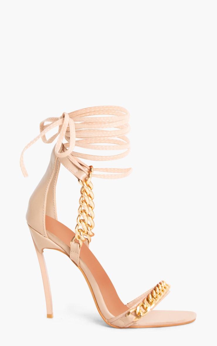 Nude Strappy Chain Stiletto Heels 3