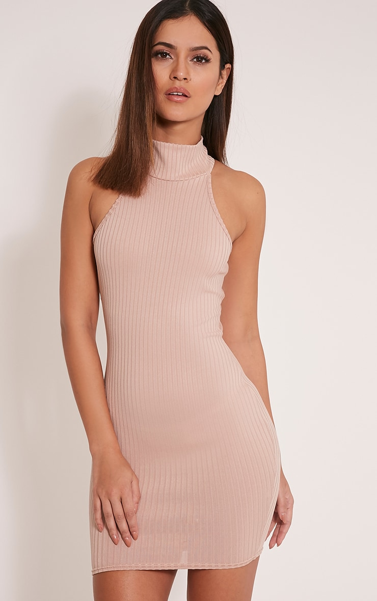 Pearla Taupe Racer Neck Ribbed Bodycon Dress 1