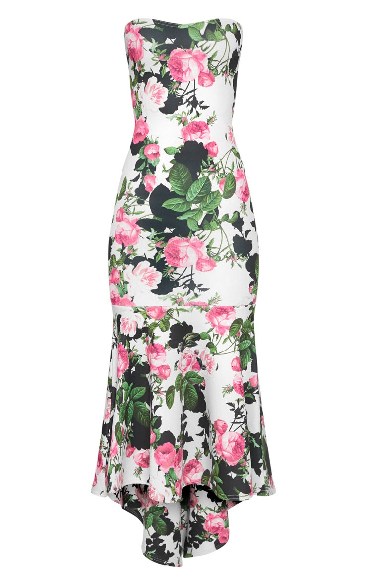 White Floral Bandeau Fishtail Midi Dress 3