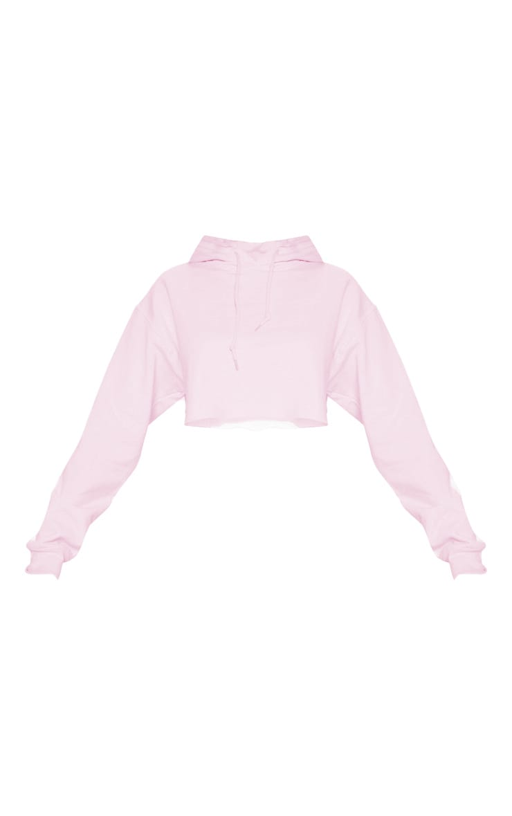 Baby Pink Ultimate Oversized Crop Hoodie  3