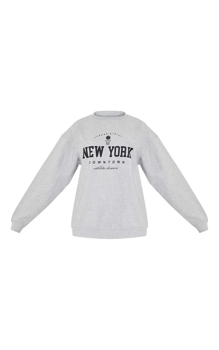 Grey New York Downtown Slogan Printed Sweatshirt 5