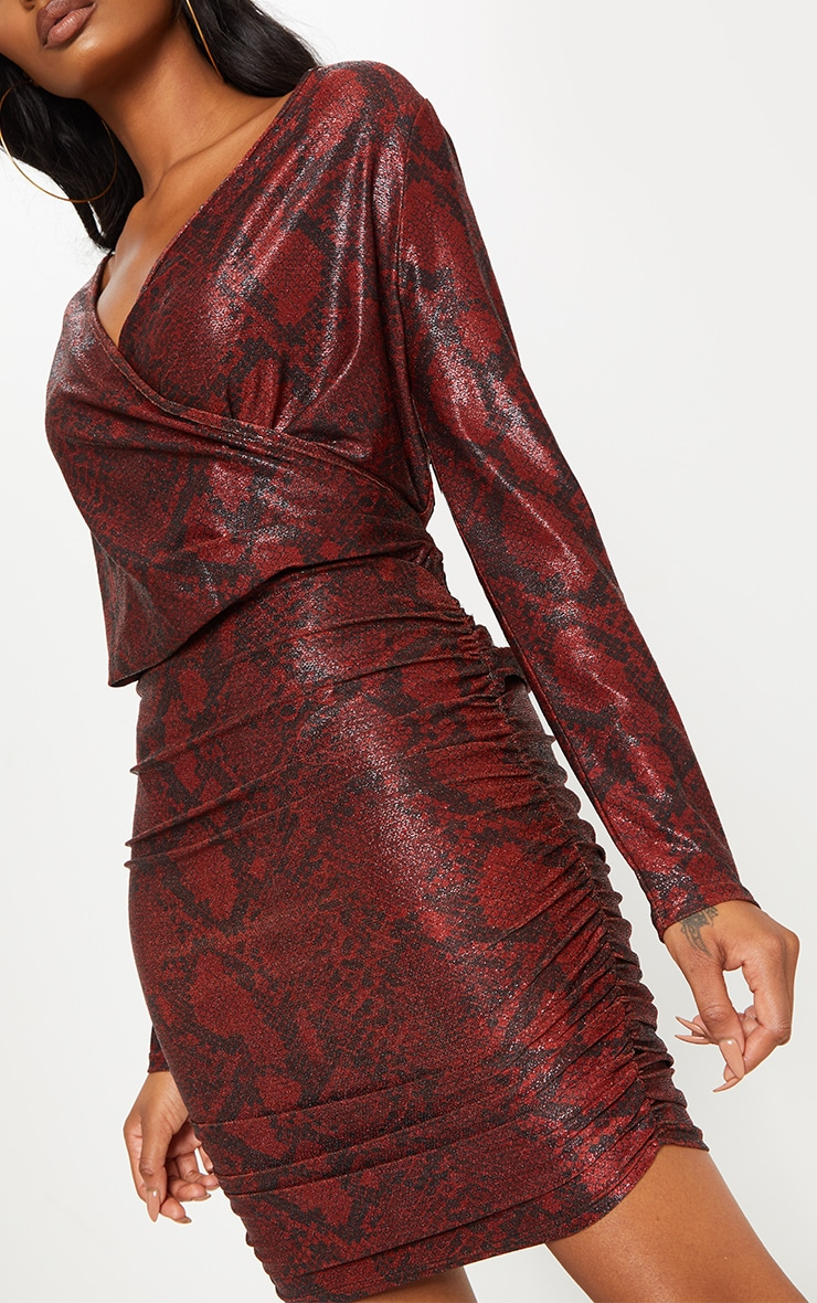 Burgundy Glitter Snake Print Ruched Shoulder Pad Bodycon Dress 4