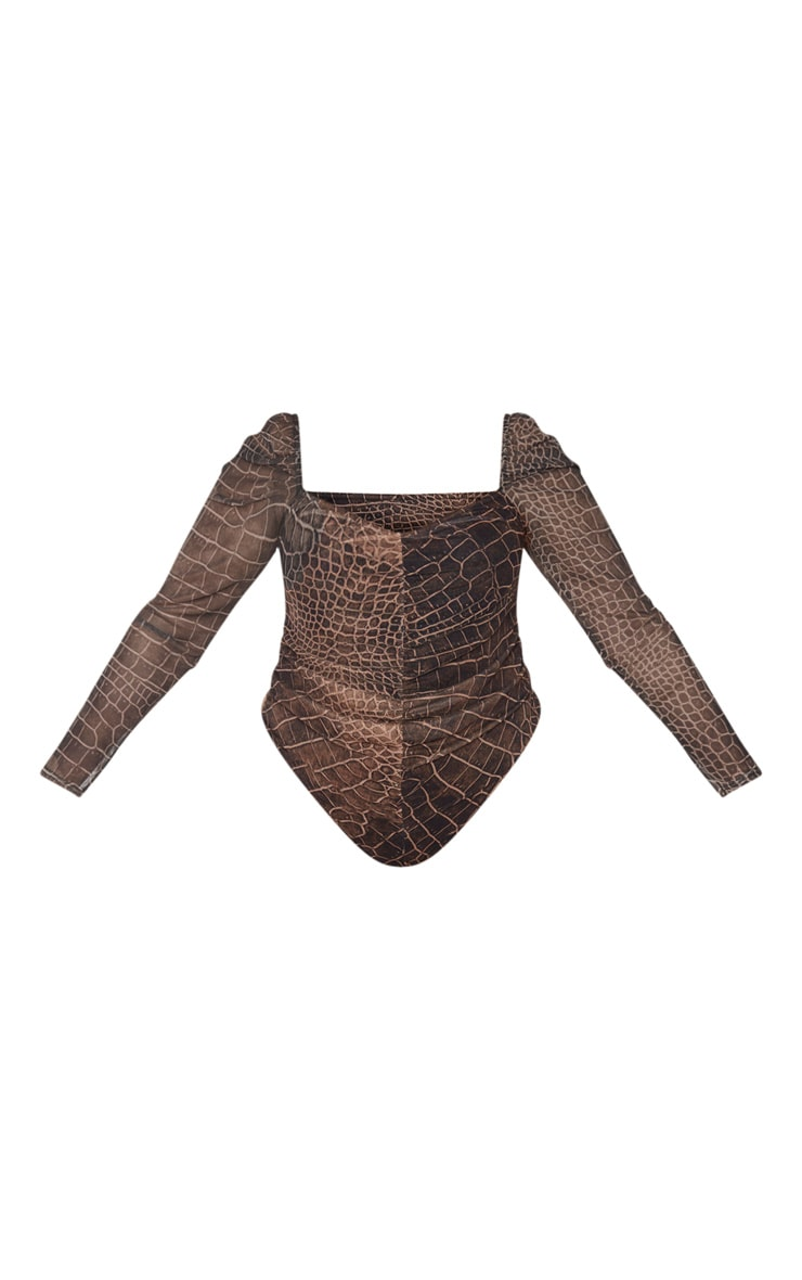Plus Brown Croc Print Mesh Ruched Front Puff Sleeve Bodysuit 5