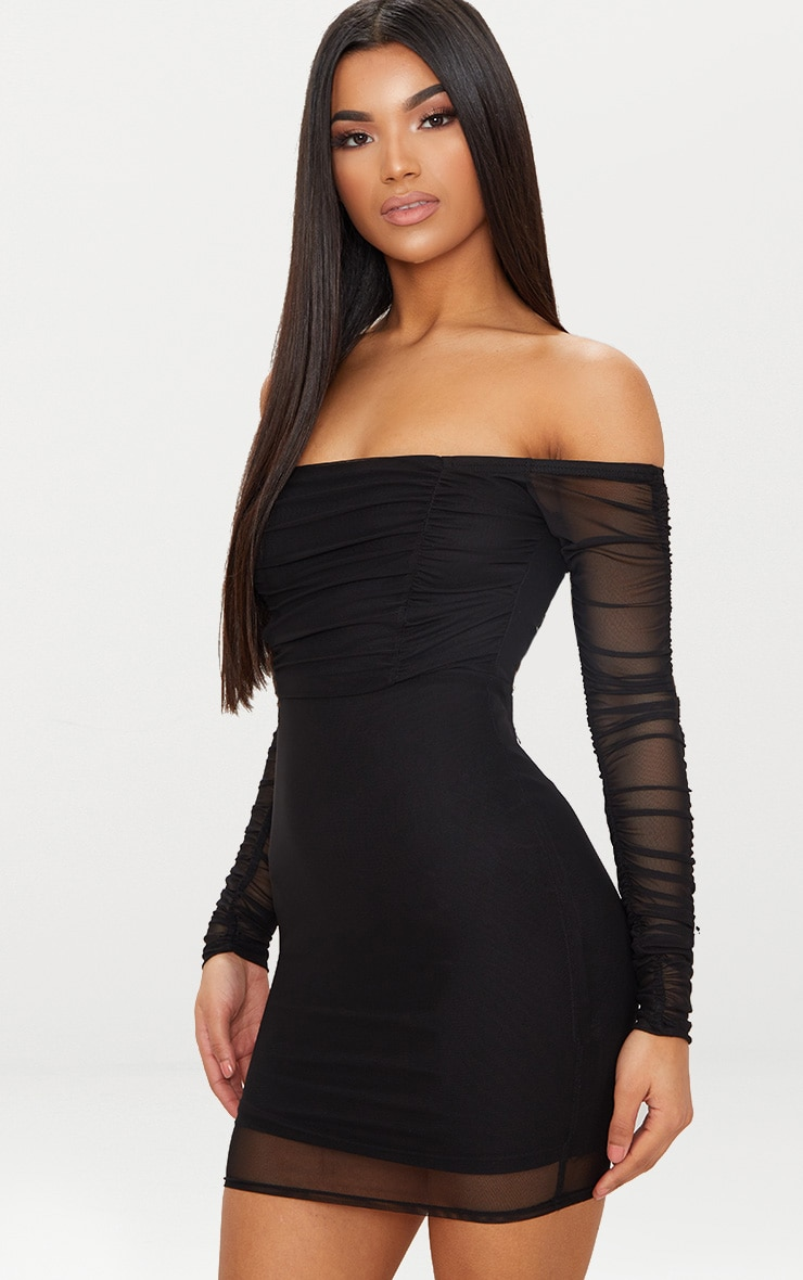 BLACK RUCHED MESH BARDOT BODYCON DRESS