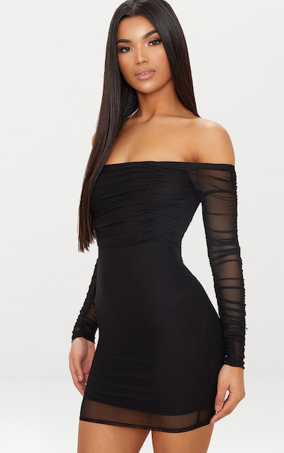 6cf48aa701 Black Ruched Mesh Bardot Bodycon Dress