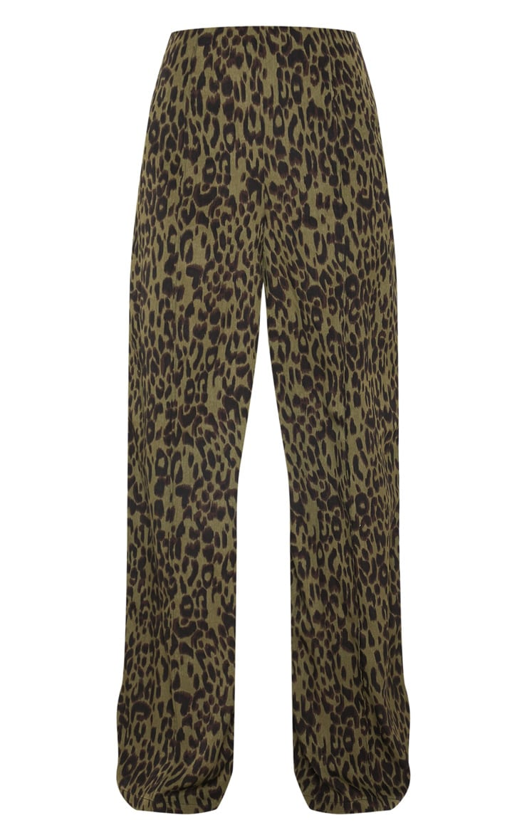 Khaki Printed Wide Leg Pants 3