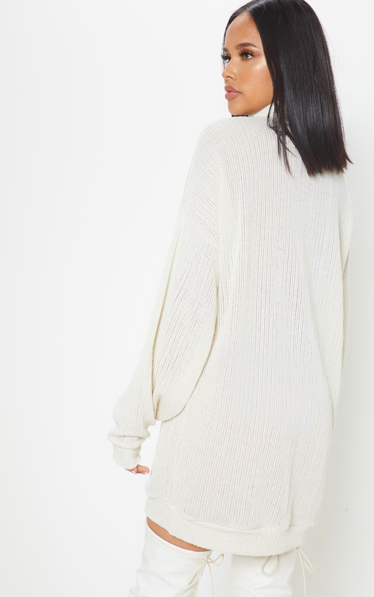Cream Oversized Ribbed Jumper  2