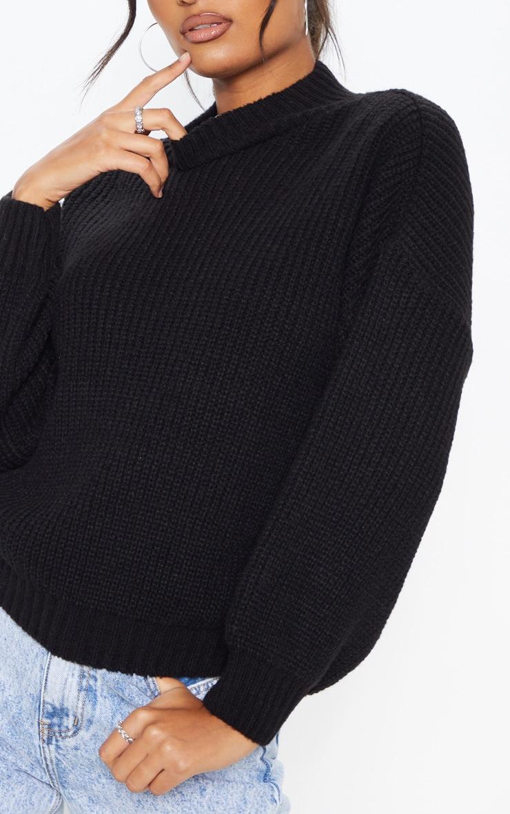 Black Balloon Sleeve Fluffy Sweater 5