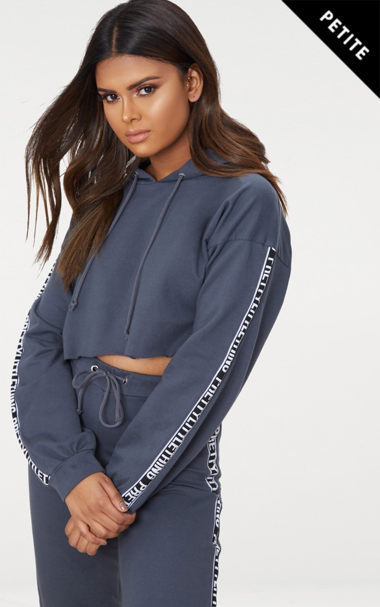 Prettylittlething Petite Charcoal Cropped Hoodie by Prettylittlething
