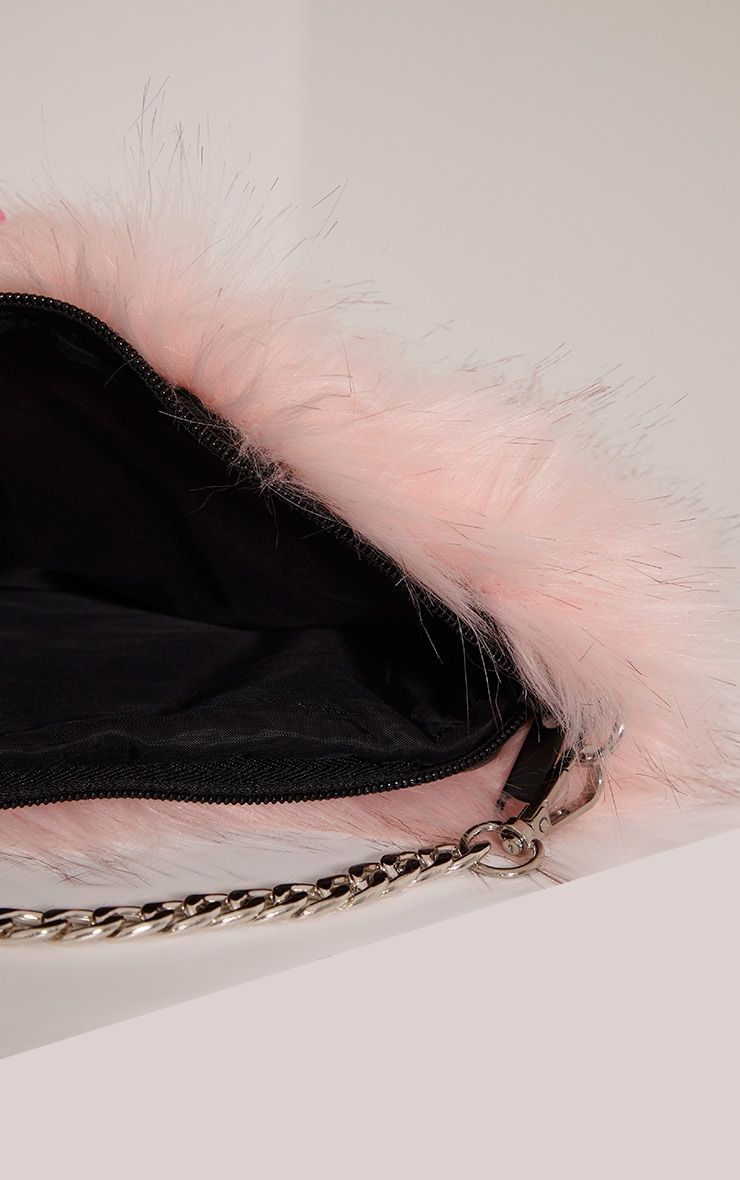 Christah Baby Pink Faux Fur Chain Shoulder Bag 5
