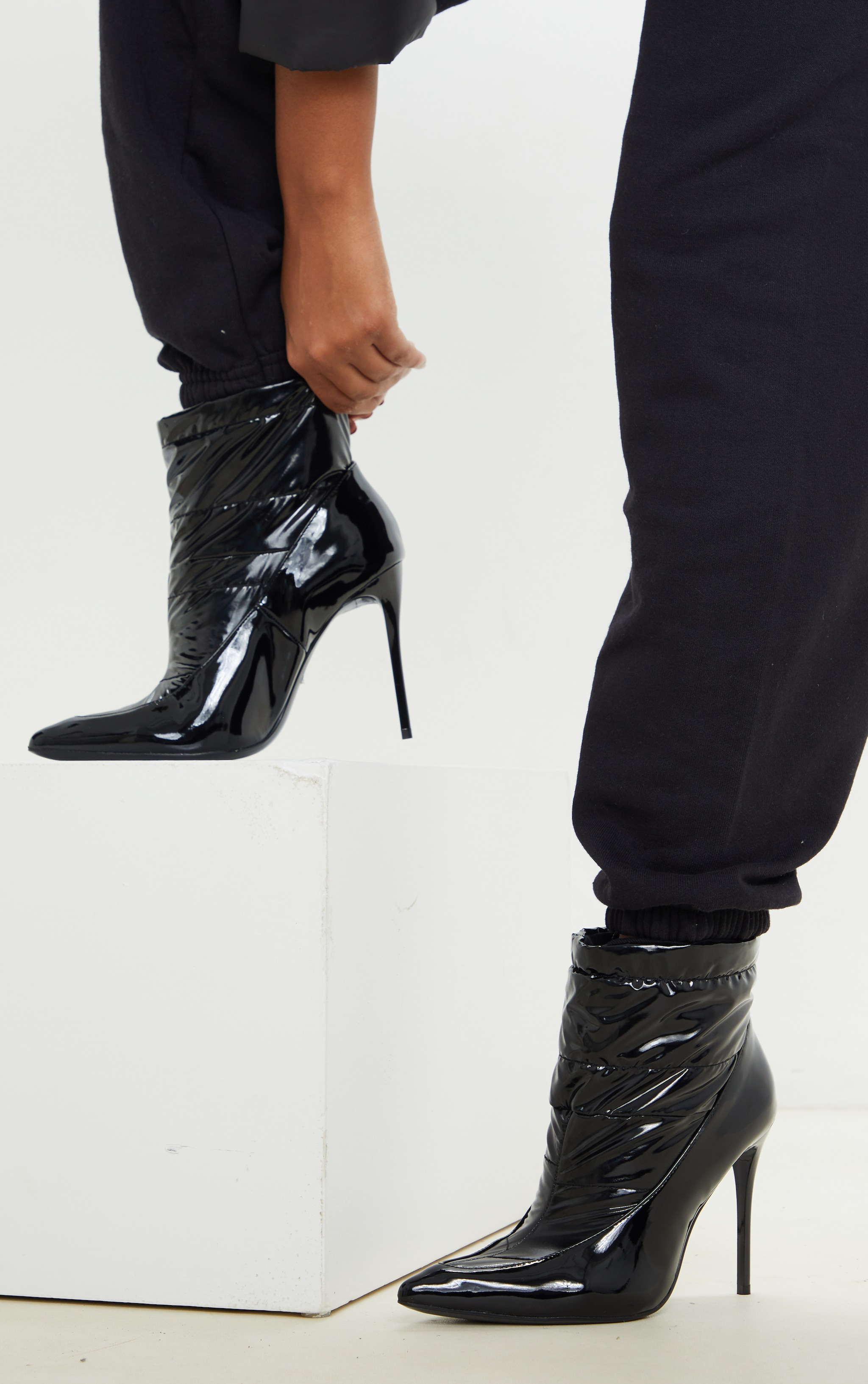 Black Quilted High Shine Ankle Boot 1