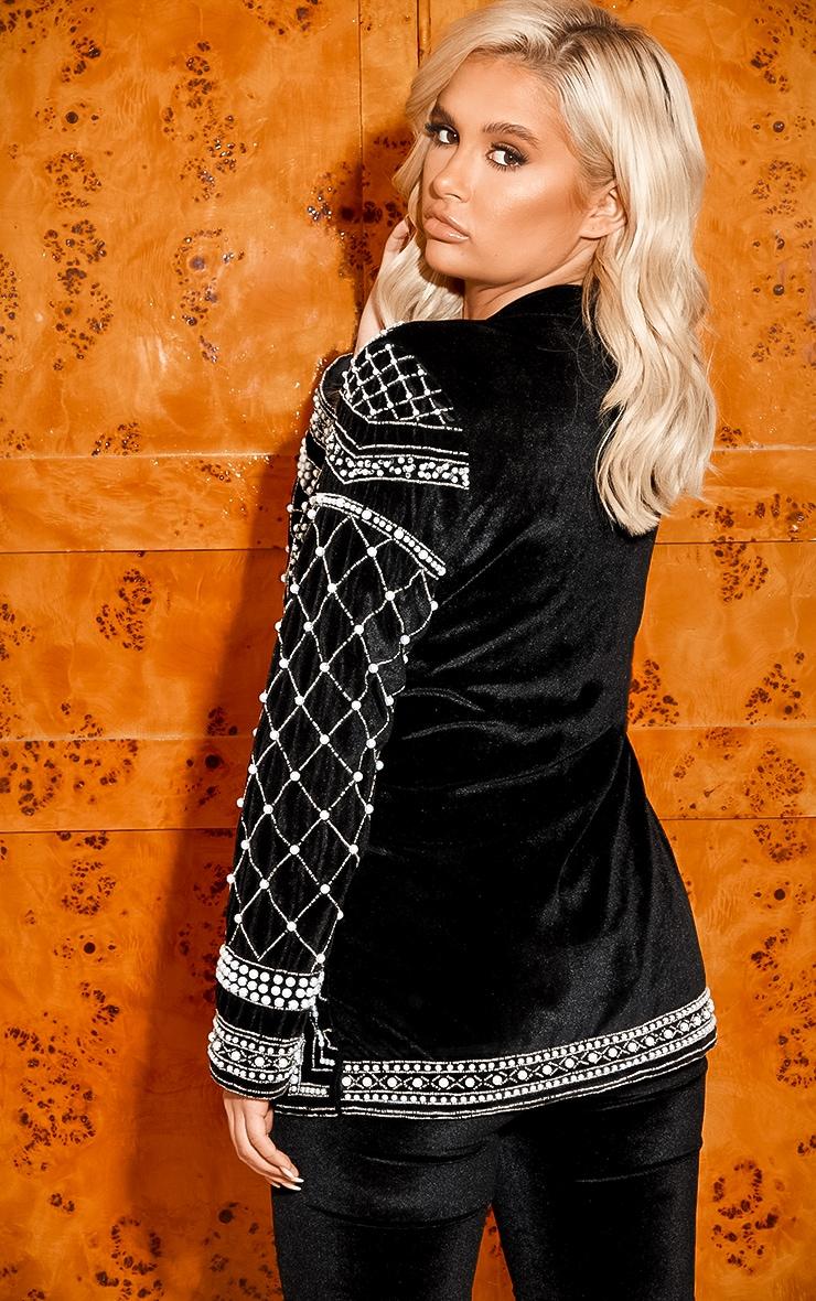 Premium Black Velvet Embellished Beaded Oversized Blazer 4