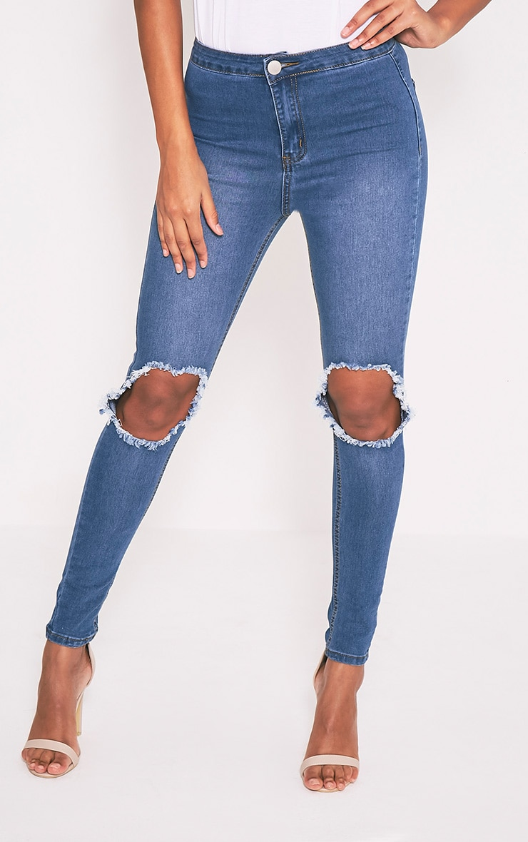 Mid Wash Open Knee Rip High Waisted Skinny Jean 2