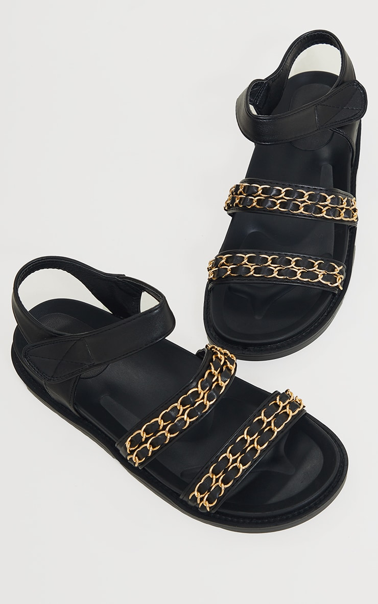 Black PU Footbed Double Strap Chain Detail Sandals 3