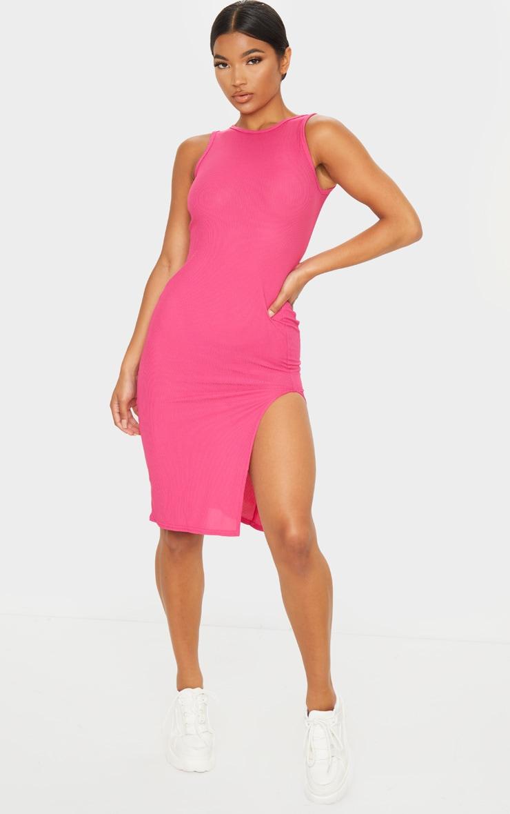 Hot Pink Ribbed Split Detail Midi Dress 1