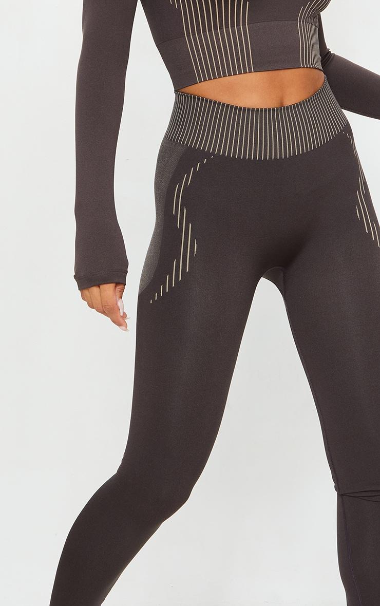 Brown Contrast High Waist Seamless Gym Leggings 4