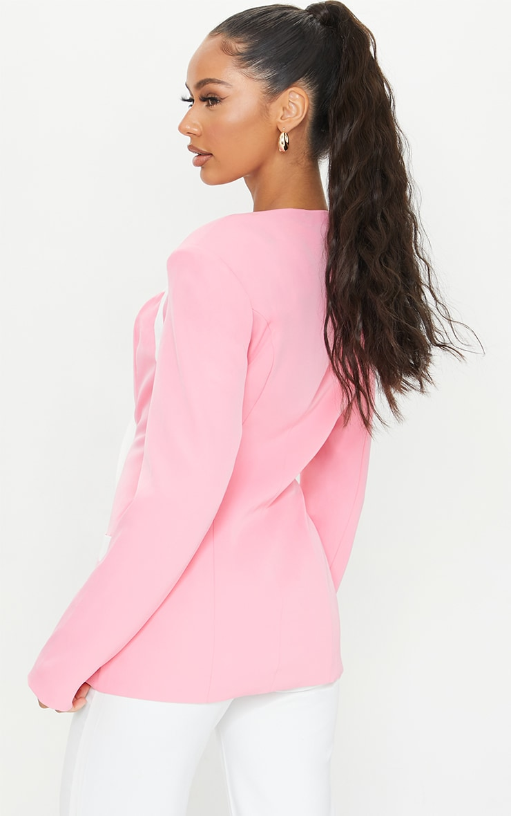 Baby Pink Woven Contrast Military Shoulder Padded Blazer 2