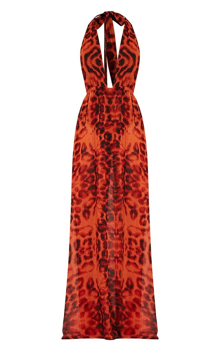 Alina Orange Leopard Print Plunge Maxi Dress 3