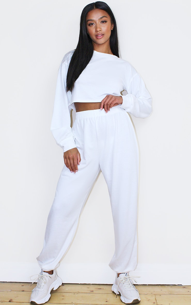 Petite White Cropped Sweat and Jogger Set 1