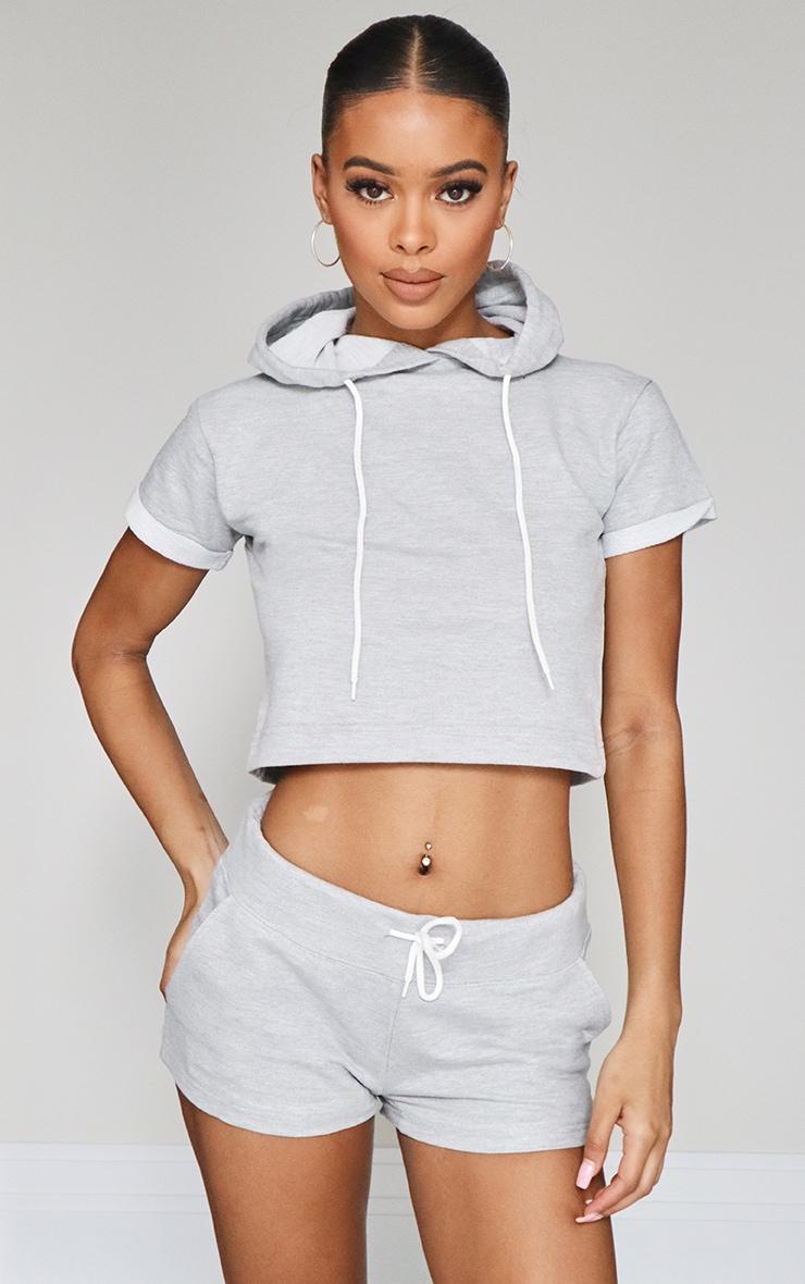 Grey Marl Tie Waist Sweat Shorts 1