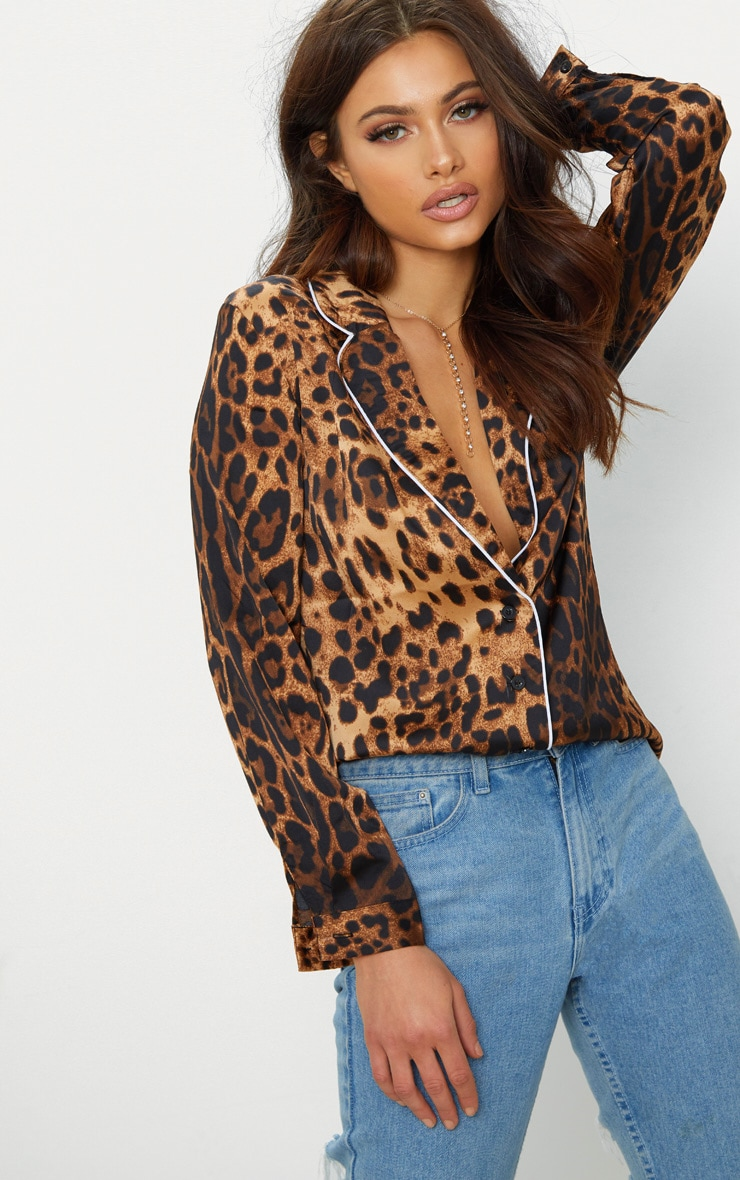 Tan Leopard Contrast Piping Oversized Shirt 1