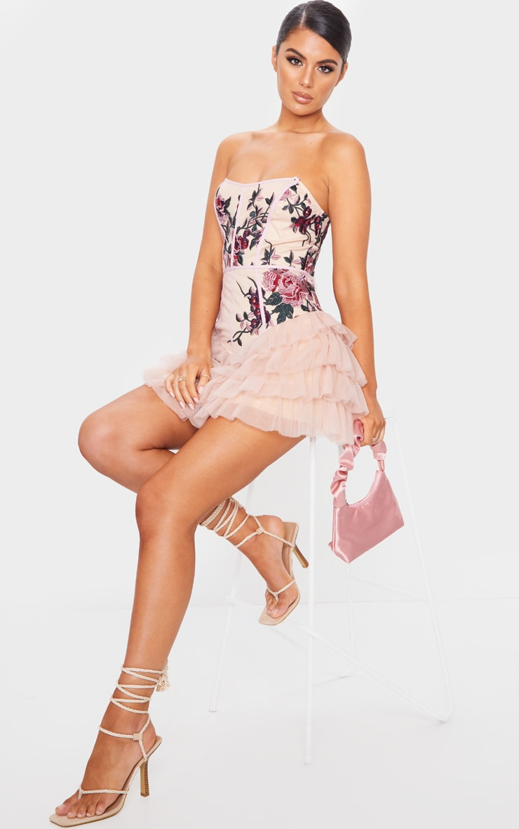 Nude Embroidered Detail Bandeau Tiered Bodycon Dress 3