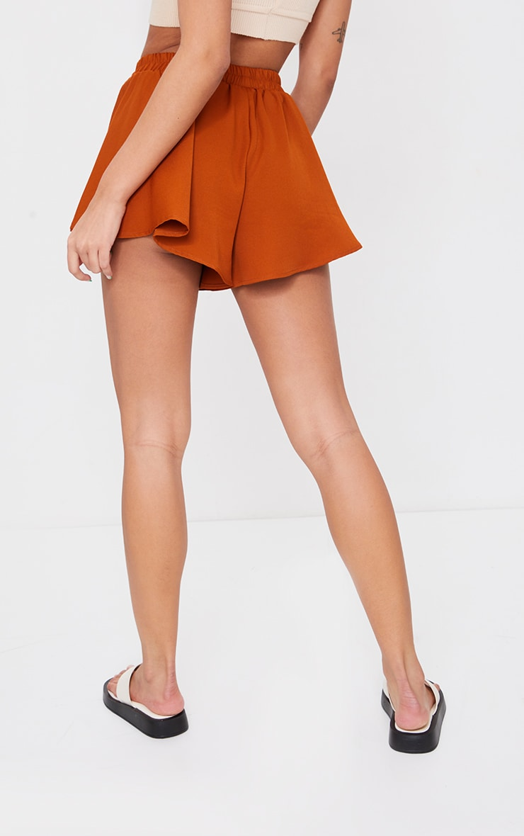 Rust High Waisted Floaty Shorts 3