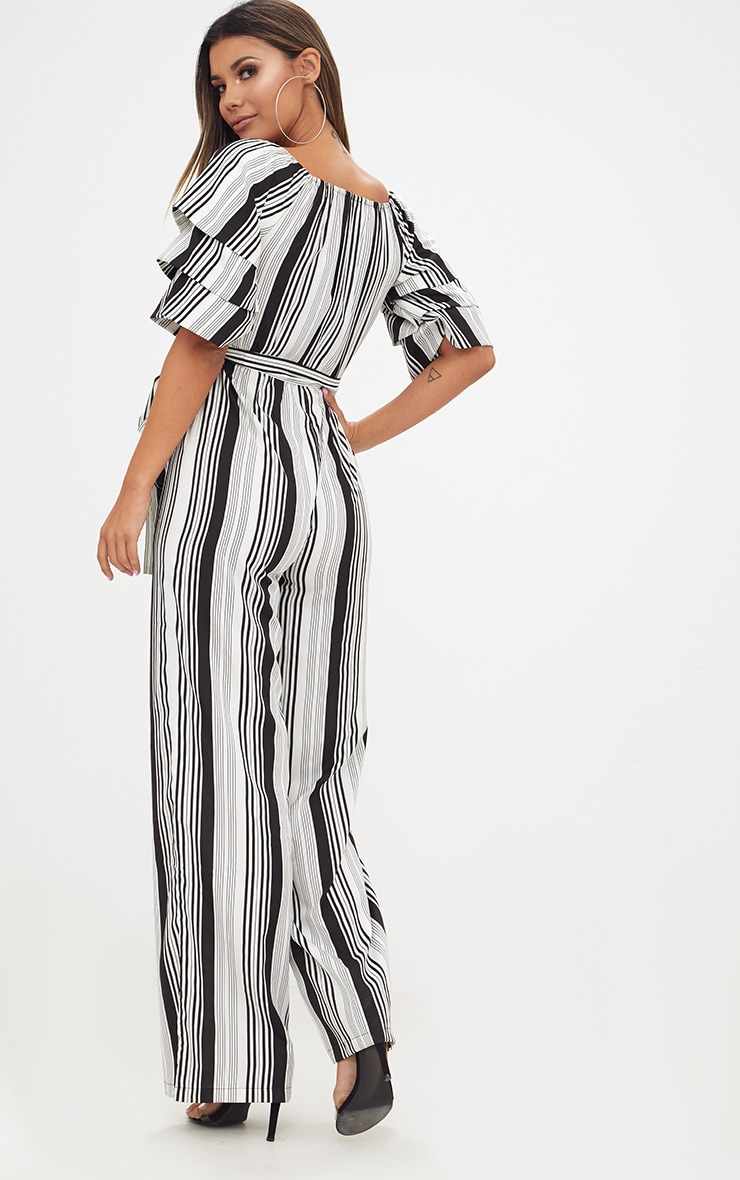 White Striped Frill Sleeve Jumpsuit 2