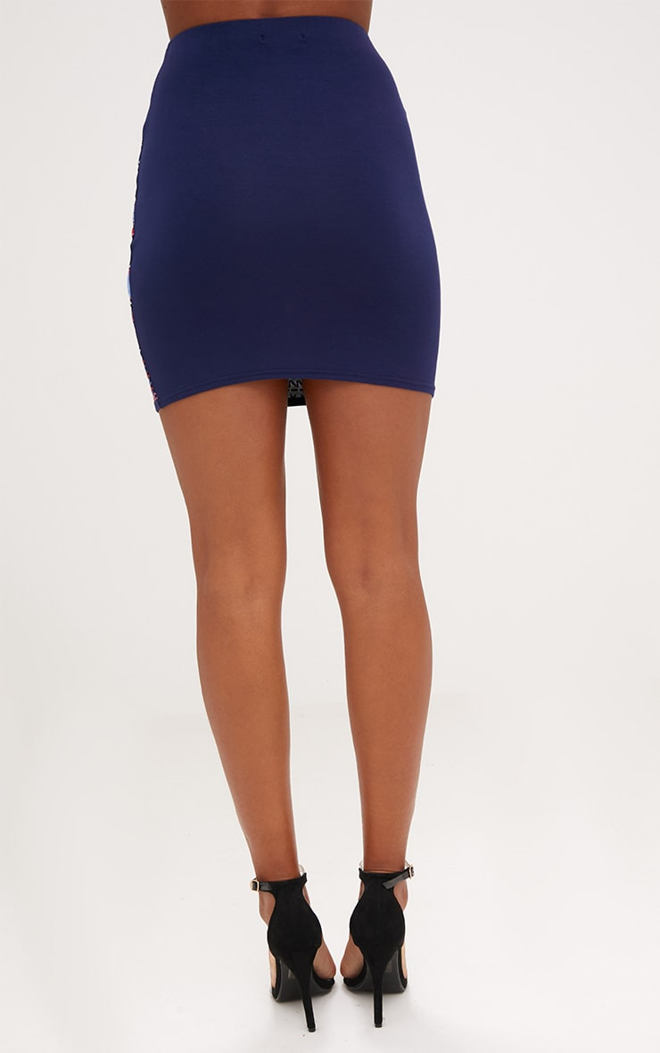Navy Floral Embroidery Print Mini Skirt 4