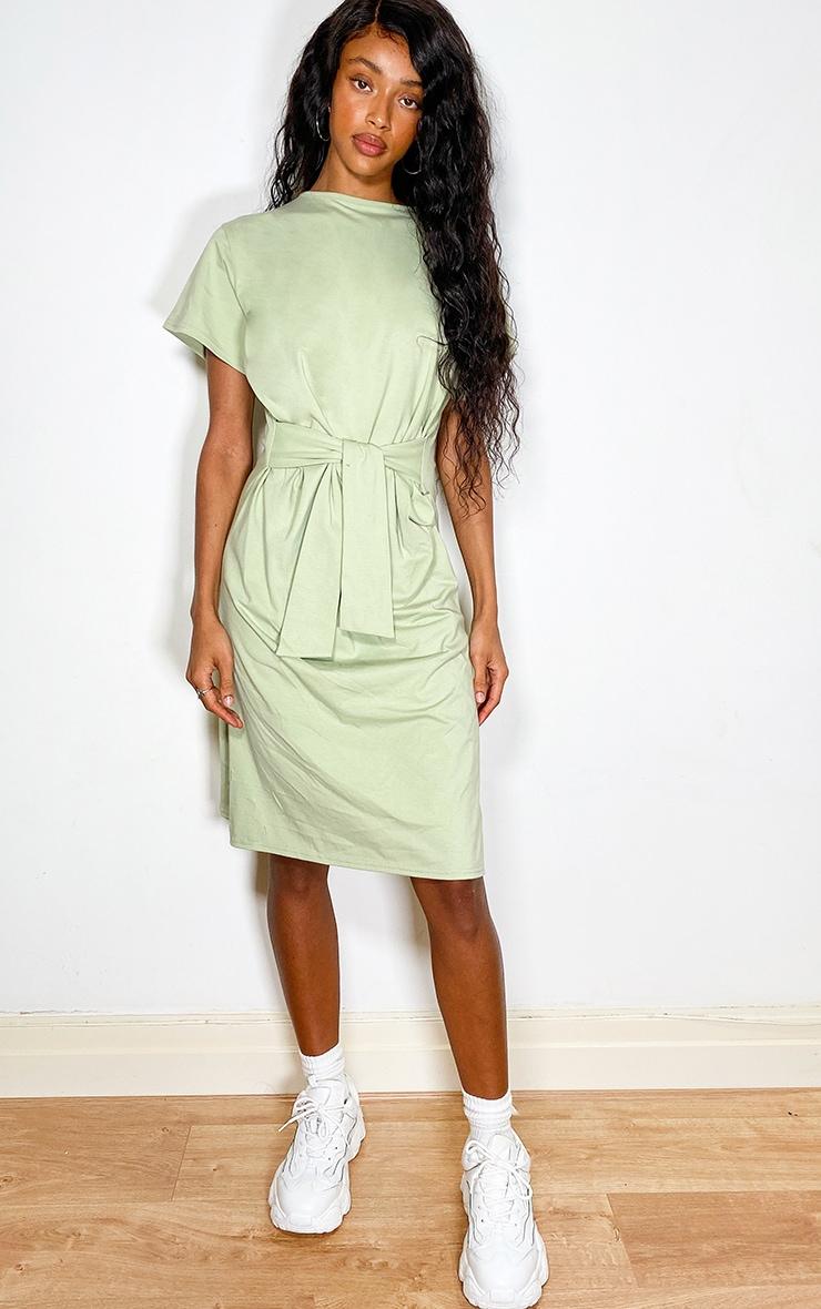 Sage Green Tie Waist Short Sleeve Midi T Shirt Dress 1