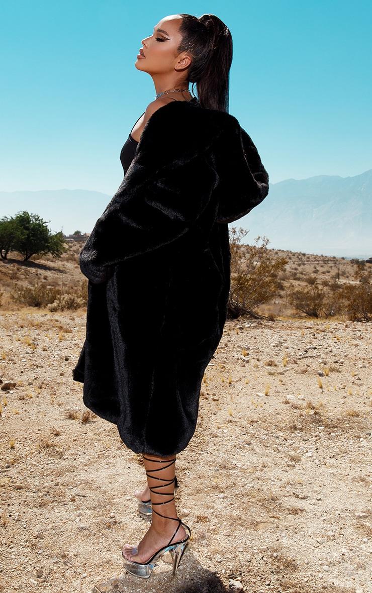 Black Premium Longline Faux Fur Hooded Coat 3