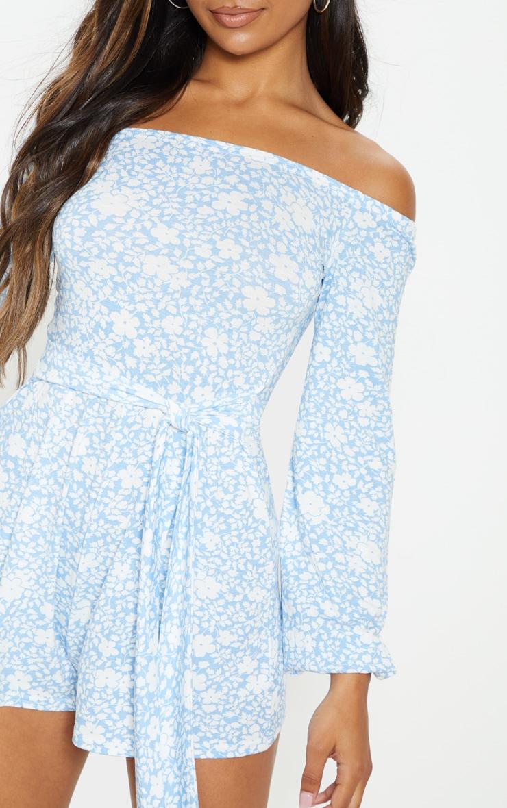 Combishort bleu imprimé floral à col bateau et manches longues 5