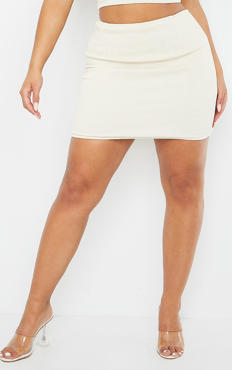 Shape Cream Wide Rib Bodycon Skirt 2