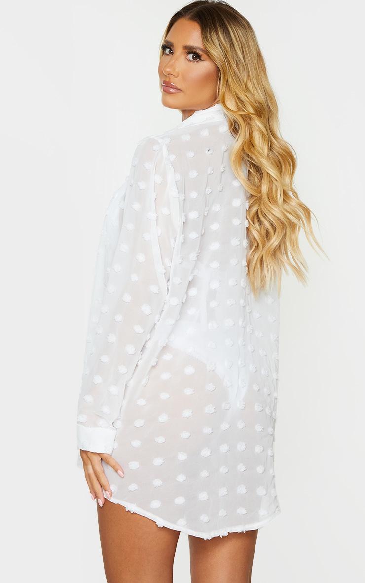 White Dobby Chiffon Beach Shirt 2